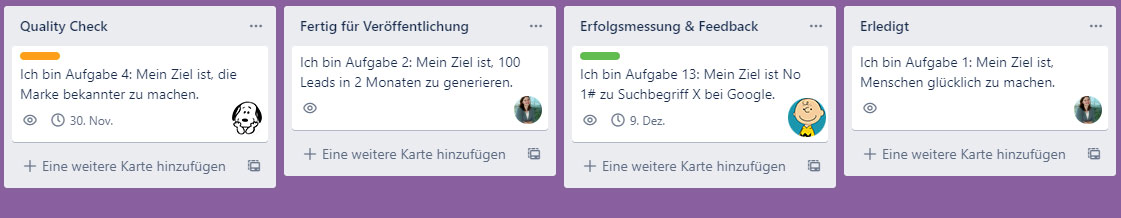 Teil 2: Content-Task Board abgebildet in Trello (c) Sonja Schwarz
